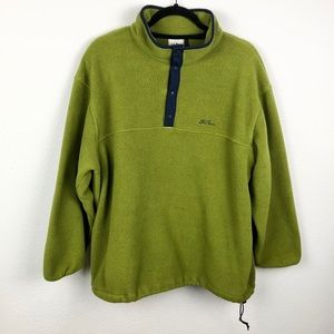 L.L. BEAN VTG Green Snap Tee Fleece Jacket XL Regu